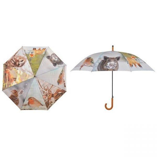 parasol przeciwdeszczowy motyw zima duży